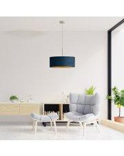 Lampa salonowa z abażurem SINTRA VELUR fi - 50 cm kolor granatowy ze złotym wnętrzem
