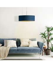 Lampa welurowa SINTRA VELUR fi - 60 cm kolor granatowy ze złotym wnętrzem