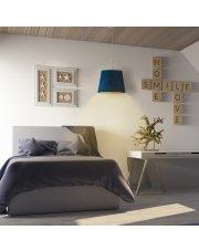 Stylowy żyrandol do sypialni SARI VELUR - kolor morski ze złotym wnętrzem