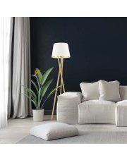 Drewniana lampa podłogowa z abażurem ANDORA GOLD